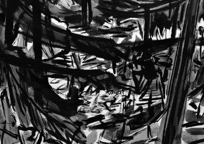 Bergerbos de _donkere hoek_-14082193-kaai-2017-inkt op papier-40x50cm