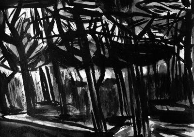 Het dennenpaadje van Bello-14082236-kaai-2017-inkt op papier-30x40cm