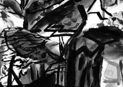 Les pins 3-14082007-kaai-2016-inkt op papier-30x40cm