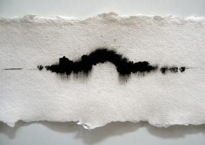 Sound horizon, detail, oostindische inkt op handgeschept papier, 16 x 154 cm
