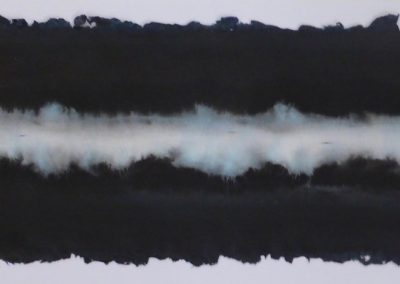Zonder titel, 1P2018, oostindische inkt, octopusinkt en pigment op handgeschept papier, 21 x 62 cm