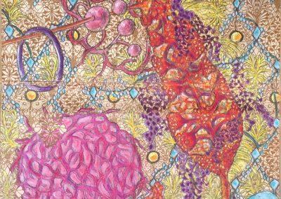 Susana Mulas Lastra_Zonder titel_2018 40x27cm_Pastel, potlood, fineliner op schutblad van oud boek